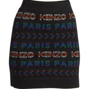 Kenzo Paris Black Allover Logo Tube Skirt XL NWT